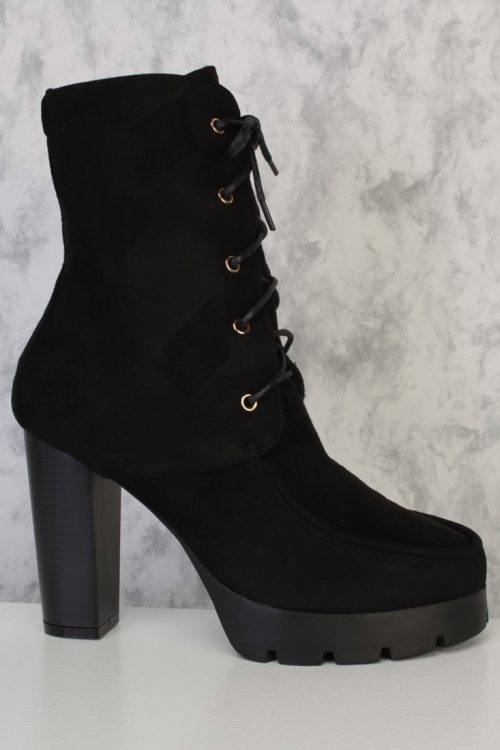 Black Lace Up Chunky Heel Combat Boots Faux Suede