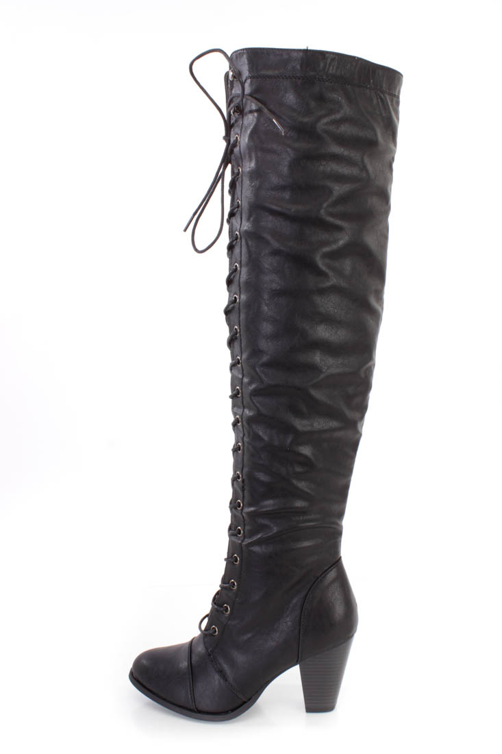 Black Lace Up Thigh High Heel Boots Faux Leather