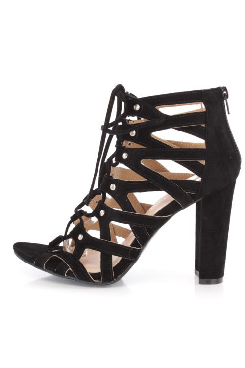 Black Open Toe High Polish Metal Accent Strappy Faux Suede Chunky High Heels
