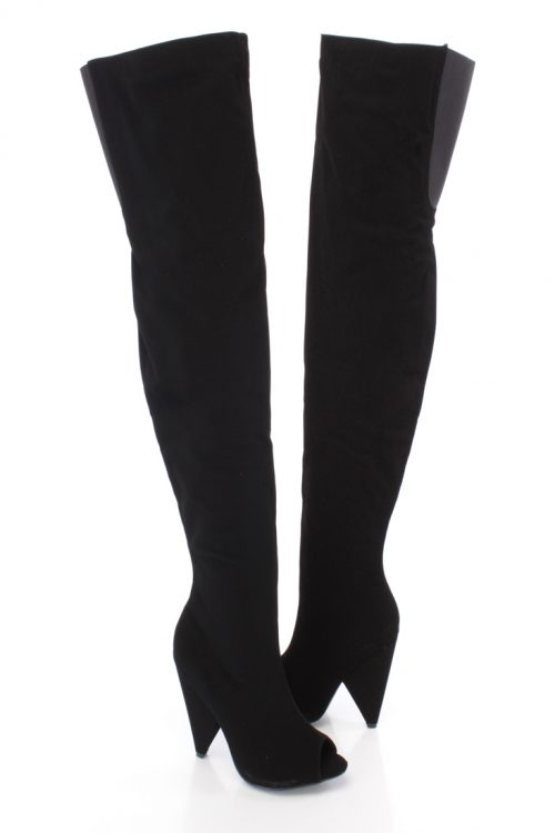 Black Peep Toe Thigh High Boots Faux Leather