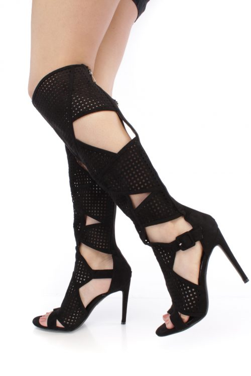 Black Perforated Cut Out Single Sole High Heel Boots Faux Suede