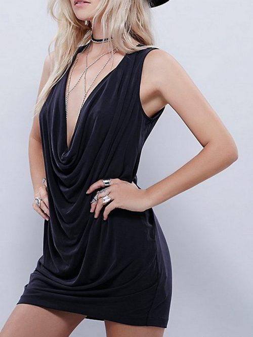 Black Plunge Ruched Detail Mini Dress