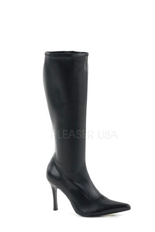 Black Pointed Toe Knee High Boots Faux Leather