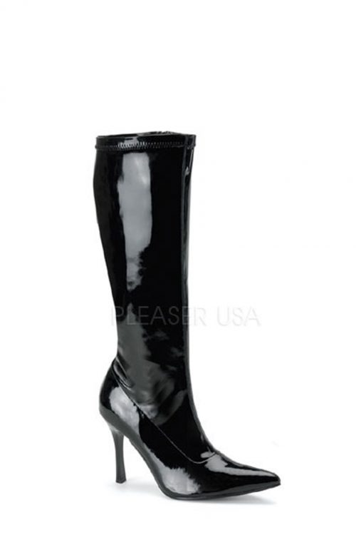 Black Pointed Toe Knee High Boots Patent