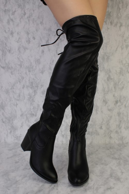 Black Pointy Toe Thigh High Single Sole Chunky Heel Boots Faux Leather