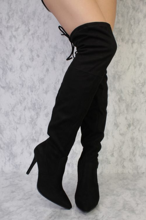 Black Pointy Toe Thigh High Single Sole High Heel Boots Faux Suede