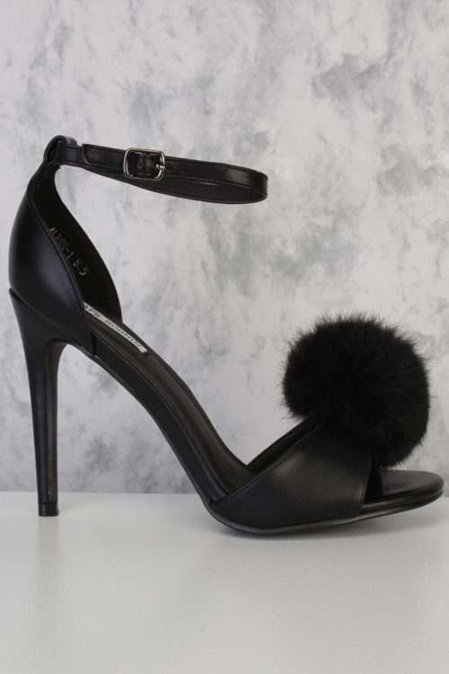 Black Pom Fur Open Toe Single Sole High Heel Faux Leather