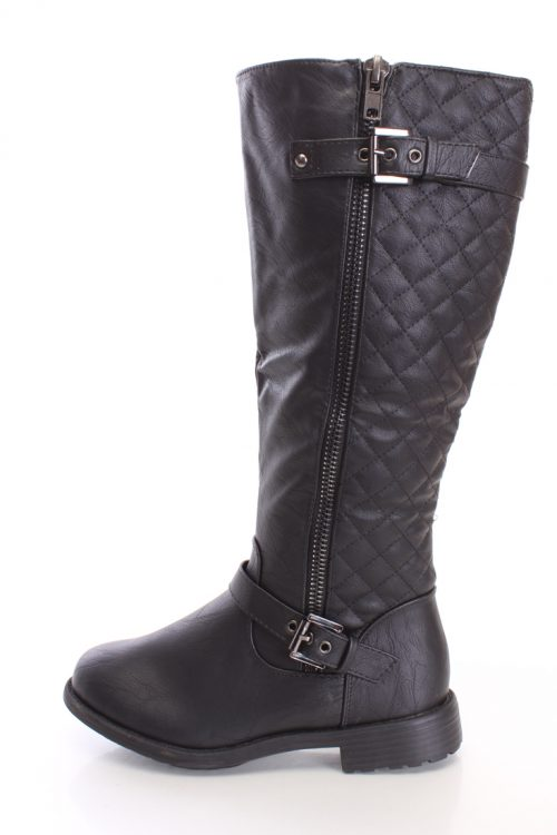 Black Quilted Riding Boots Faux Leather