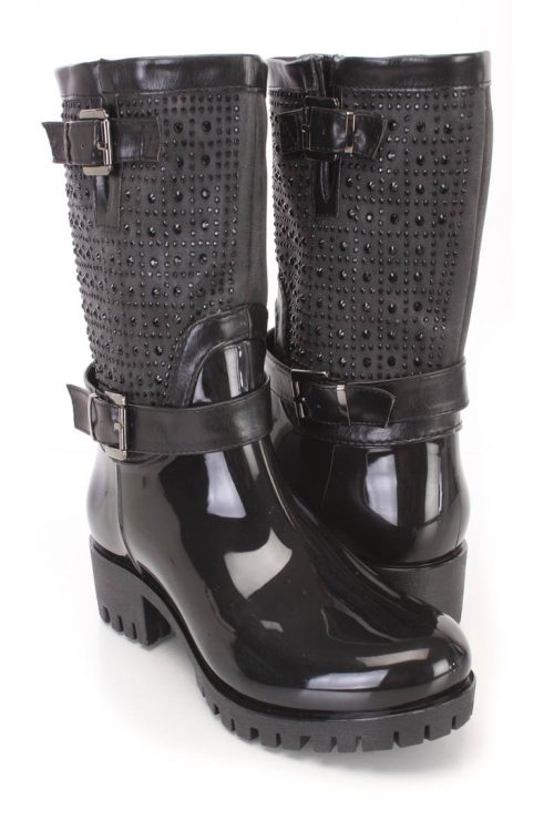 Black Rhinestones Decor Side Buckle Boots Patent