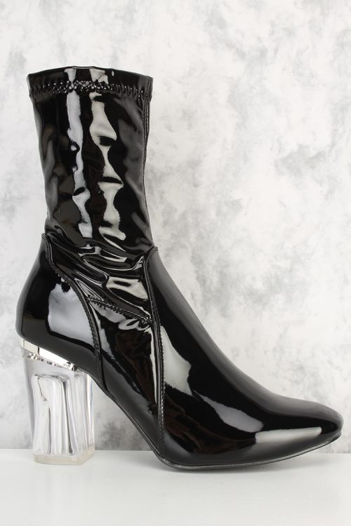 Black Round Pointy Toe Clear Chunky Heel Patent Boots