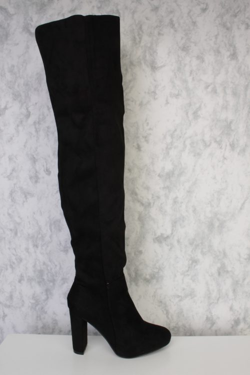 Black Round Pointy Toe Over The Knee Chunky Heel Ami ClubWear Boots Faux Suede