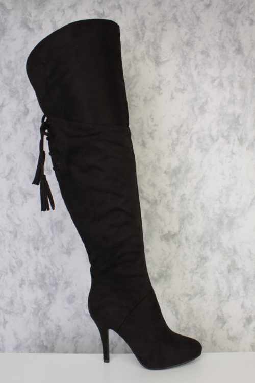 Black Round Pointy Toe Tassel Fringe Thigh High Single Sole Heel Boots Faux Suede