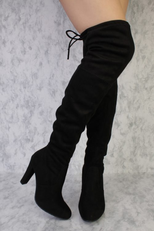 Black Round Pointy Toe Thigh High Single Sole High Heel Boots Faux Suede