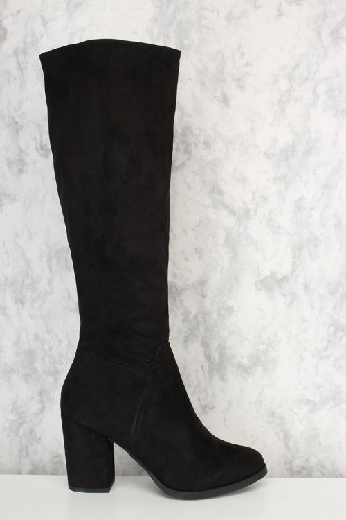 Black Round Toe Chunky Heel Riding Boots Faux Suede
