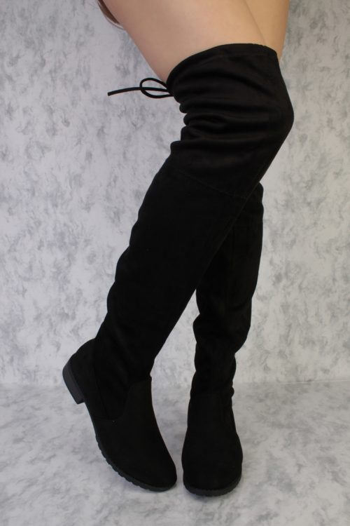Black Round Toe Thigh High Flat Chunky Heel Boots Faux Suede