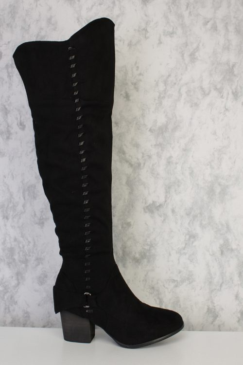 Black Side Stitch Detailing Pointy Round Toe Chunky Heel Single Sole Knee High Boots Faux Suede