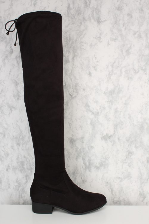 Black Slim Round Closed Toe Over The Knee Chunky Heel Boots Faux Suede