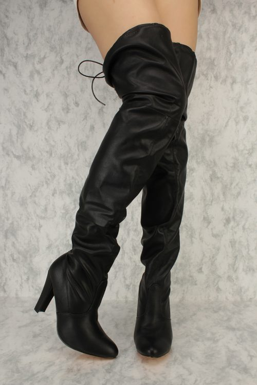 Black Slouchy Round Pointy Toe Thigh High Chunky Heel Boots Faux Leather