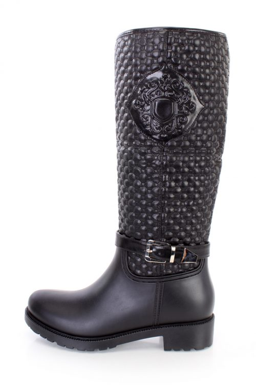 Black Stitched Quilted Riding Boots Faux Leather