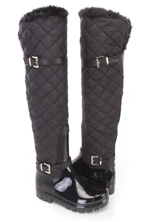 Black Stitched Quilted Riding Boots Patent