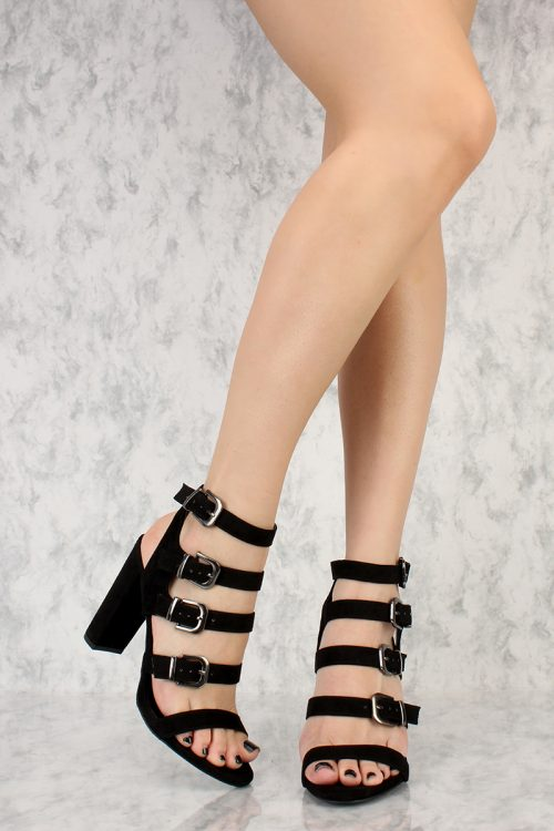 Black Strappy Buckle Cut Out Open Toe Chunky Heel Velvet Suede