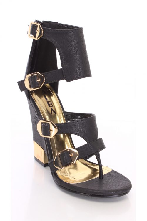 Black Strappy Buckled Heels Faux Leather-5.5