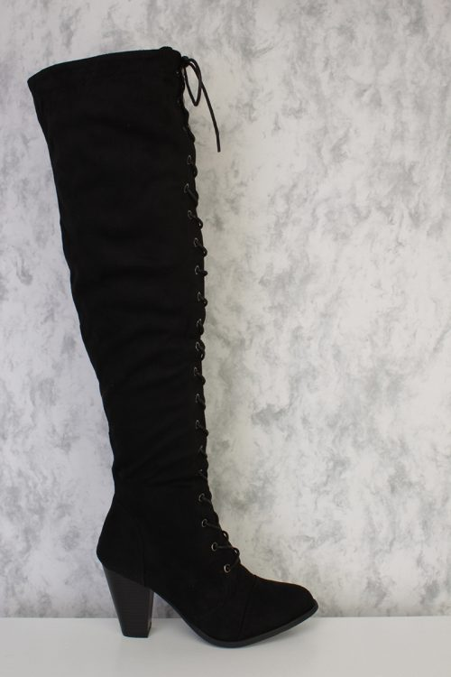 Black Strappy Front Lace Up Knee High Round Toe Chunky Heel Boots Suede