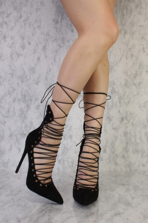 Black Strappy High Ankle Pointy Toe Single Sole High Heels Faux Suede