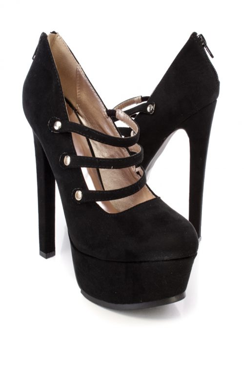 Black Strappy High Polished Metal Detail Closed Toe Pump Heels Faux Suede