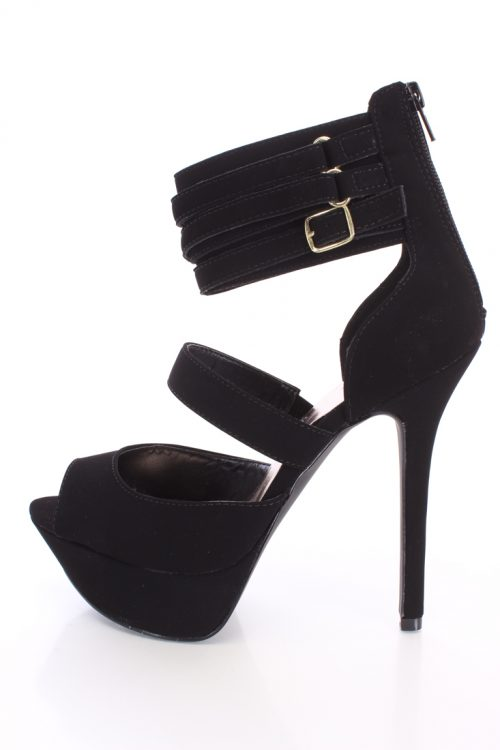 Black Strappy Plarform Heels Faux Nubuck