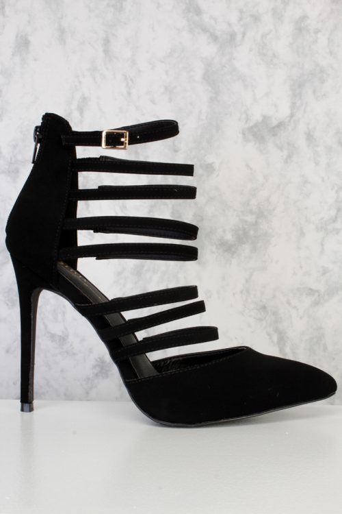 Black Strappy Pointy Toe Single Sole High Heel Nubuck