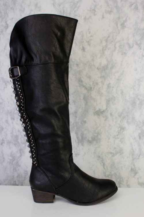Black Studded Knee High Boots Faux Leather