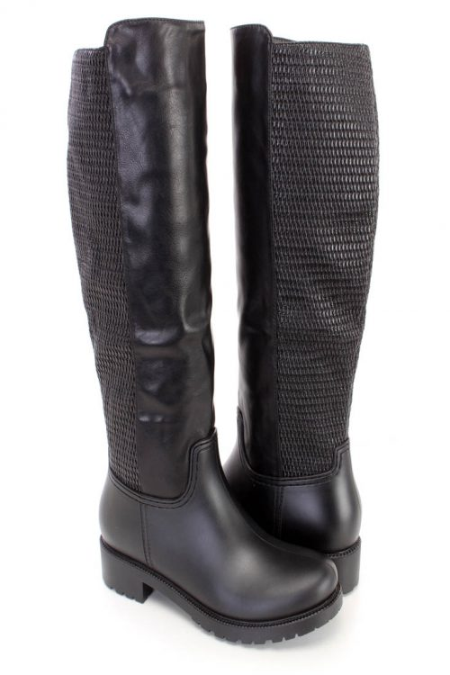 Black Textured Knee High Riding Boots Faux Leather