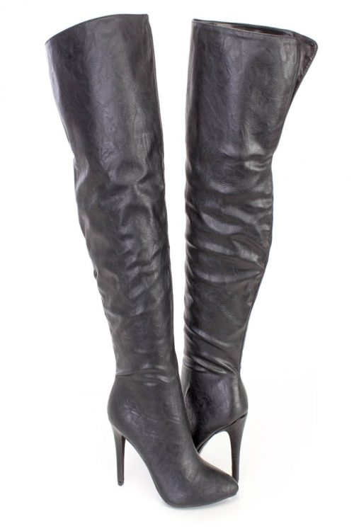 Black Thigh High Fall Pointy High Heels Boots Faux Leather