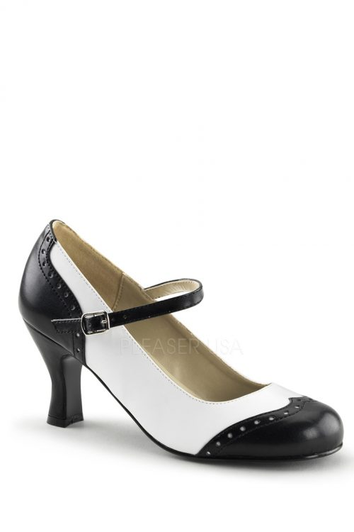 Black White Two Tone Maryjane Heels Faux Leather