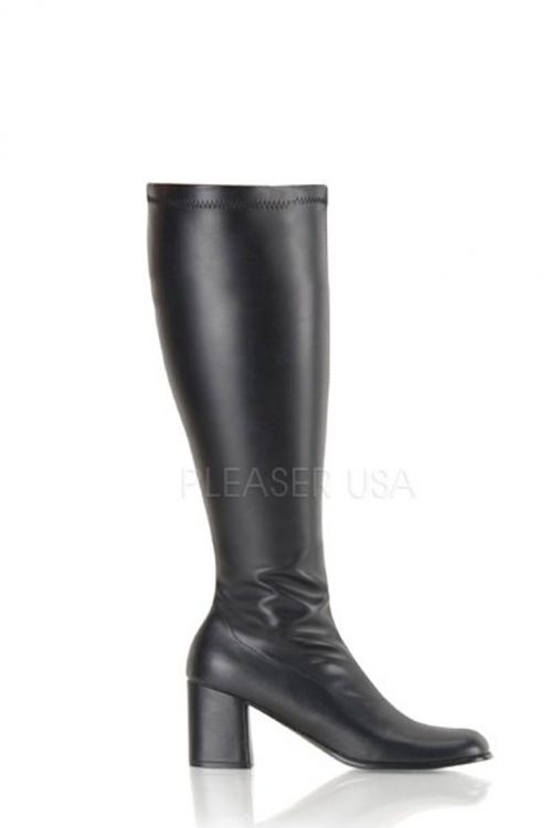 Black Wide Calf Chunky Heel GoGo Boots Faux Leather