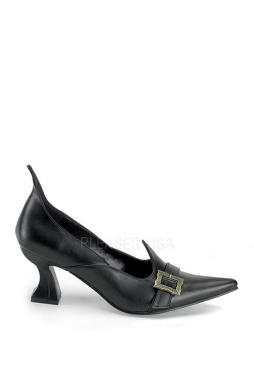 Black Witch Pump Heels Faux Leather