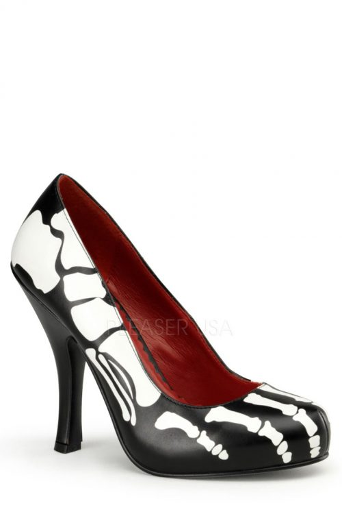 Black X-Ray Print Pump Heels Faux Leather