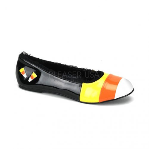 Black Yellow Orange White Patent CandyCorn Flats
