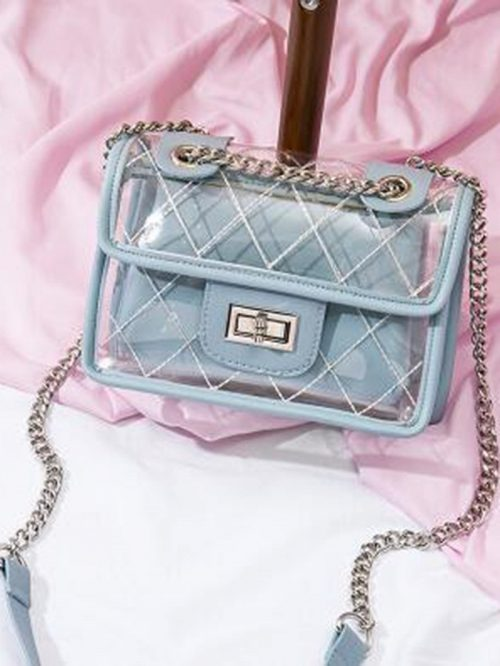 Blue Buckle Detail Chain Strap Chic Women Sheer Cross Body Bag