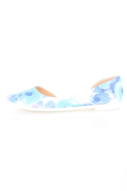 Blue Floral Pointy Toe Dorsay Summer Sandal Flats Faux Leather-5.5