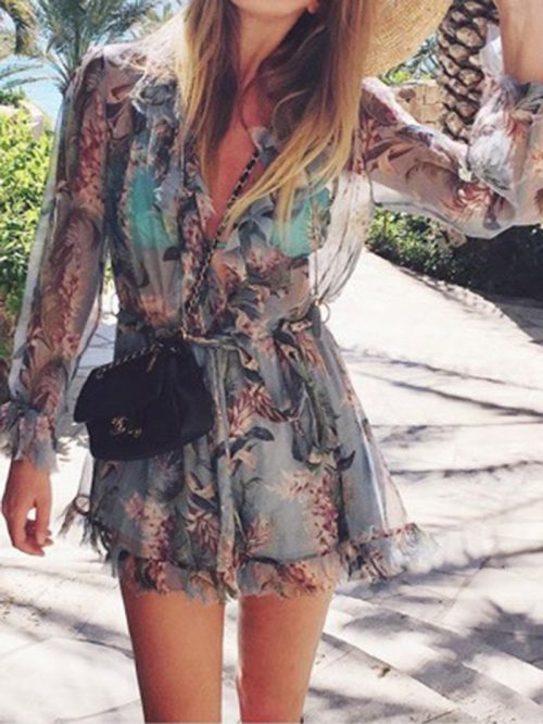 Blue V-neck Floral Print Long Sleeve Chic Women Romper Playsuit