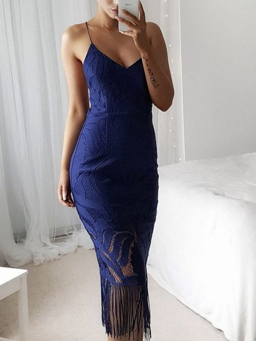 Blue V-neck Tassel Trim Chic Women Lace Bodycon Cami Midi Dress