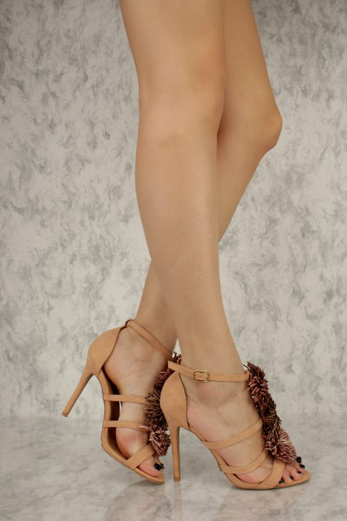 Blush Leather Pom Pom Accent Open Toe Single Sole High Heel Faux Suede