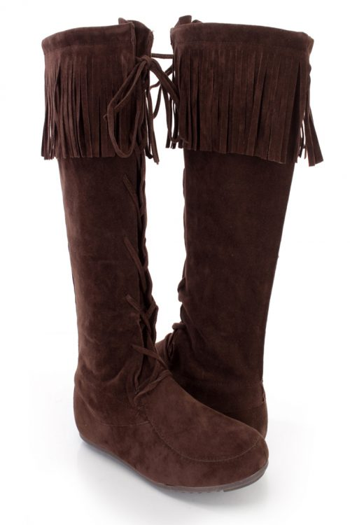 Brown Fringe Trim Lace Up Moccasin Boots Faux Suede