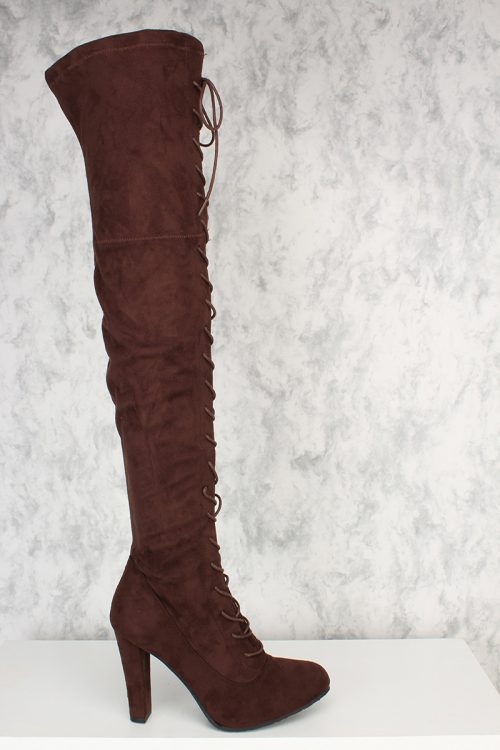 Brown Front Lace Up Round Pointy Toe Single Sole Thigh High Heel Boots Faux Suede