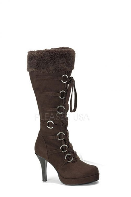 Brown Lace Up Faux Fur Knee High Boots Microfiber