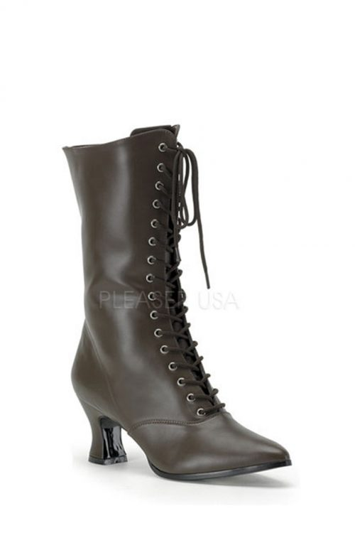 Brown Lace Up Mid Calf Victorian Boots Faux Leather