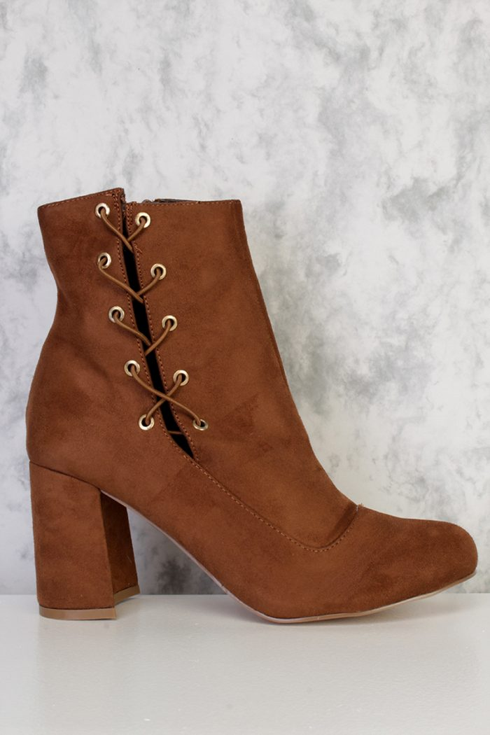 Brown Lace Up Pointy Round Toe Single Sole Chunky Heel Booties Faux Suede
