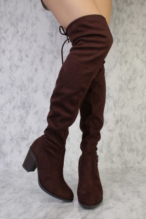 Brown Pointy Toe Thigh High Single Sole Chunky Heel Boots Faux Suede